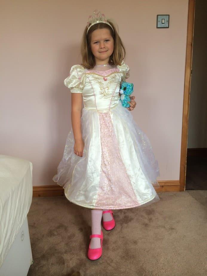 Grace in her Rapunzel Wedding Dress Costume