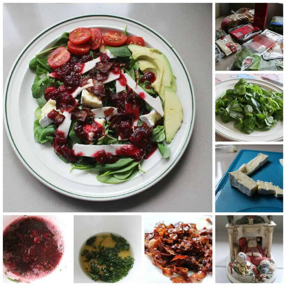 Turkey, Bacon and Brie Salad with Cranberry Dressing