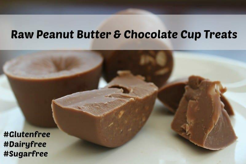 Raw Peanut Butter and Chocolate Cup Treats Recipe #DairyFree #GlutenFree #SugarFree
