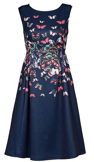Jolie Moi Butterfly Print Fit & Flare Dress