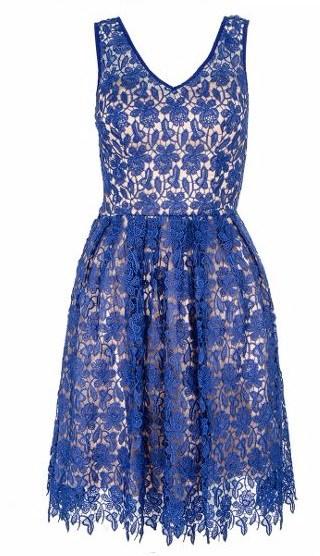 Quiz Royal Blue Crochet V Neck Dress