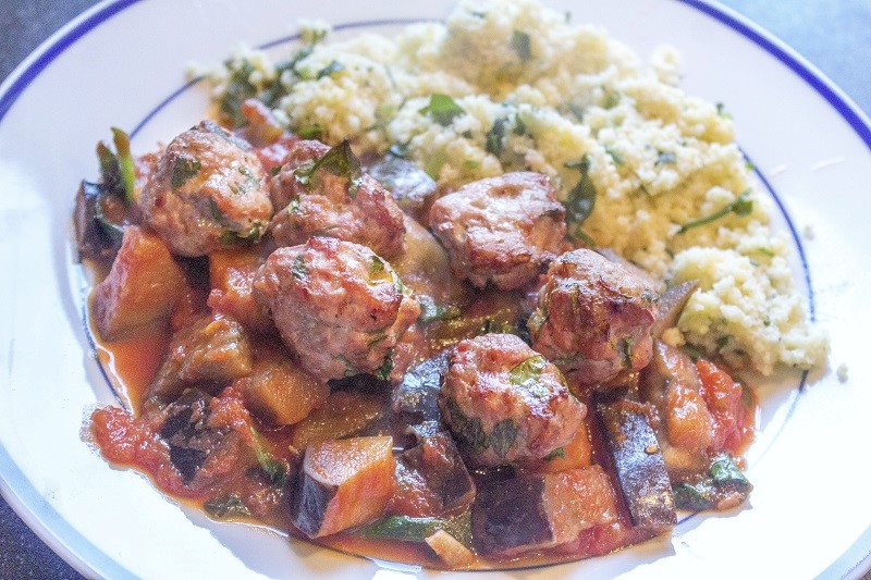 Harissa Pork Meatballs with Aubergine & Parsley Millet