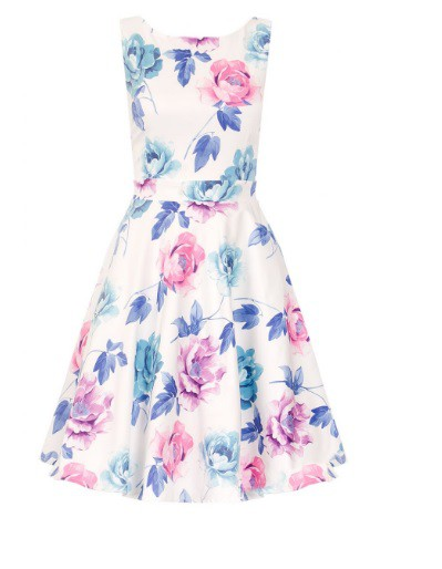 Quiz White Satin Flower Print Dress