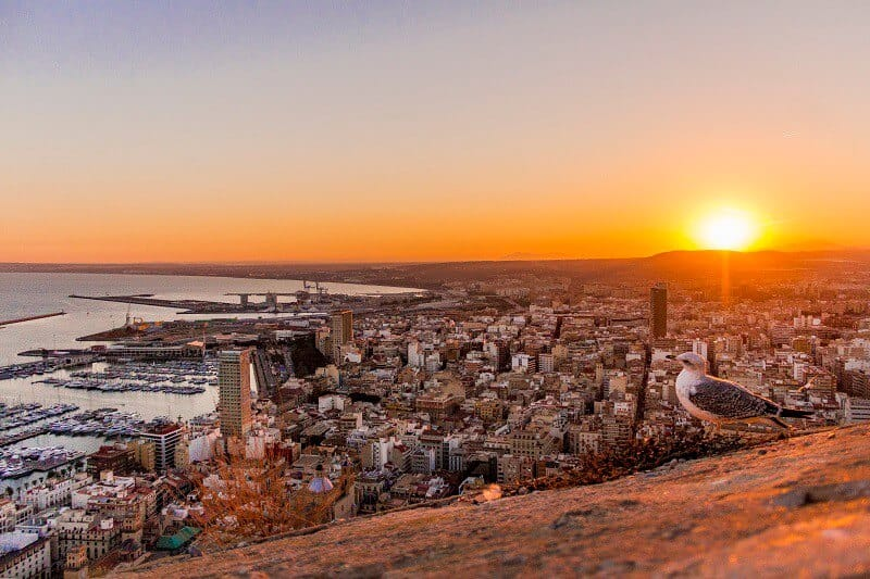 A Birds Eye View of the Alicante Sunset