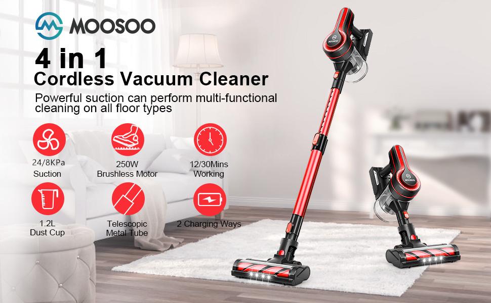 Details of the Moosoo K17U 4 in 1 Handheld Cordless Vacuum and it's features.